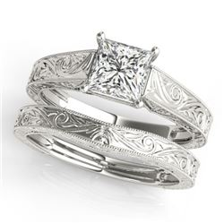 1 CTW Certified VS/SI Princess Diamond 2Pc Set Solitaire Wedding 14K White Gold - REF-347A5X - 32084