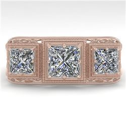 2 CTW Past Present Future VS/SI Princess Diamond Ring 18K Rose Gold - REF-481X6T - 36068