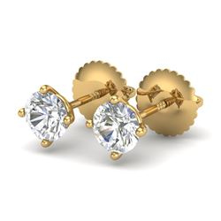 0.65 CTW VS/SI Diamond Solitaire Art Deco Stud Earrings 18K Yellow Gold - REF-97W3F - 37297