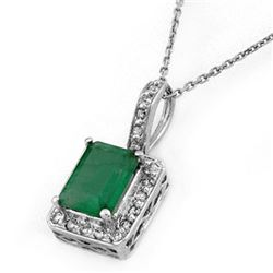 1.75 CTW Emerald & Diamond Necklace 18K White Gold - REF-46A4X - 10204