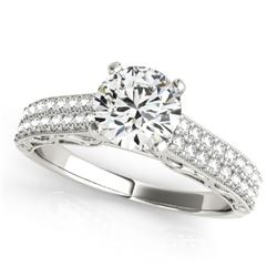 1.41 CTW Certified VS/SI Diamond Solitaire Antique Ring 18K White Gold - REF-393M6H - 27318