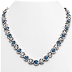 35.60 CTW Blue & White Diamond Designer Necklace 18K White Gold - REF-4403T6M - 42677
