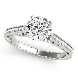 0.4 CTW Certified VS/SI Diamond Solitaire Antique Ring 18K White Gold - REF-71W6F - 27363
