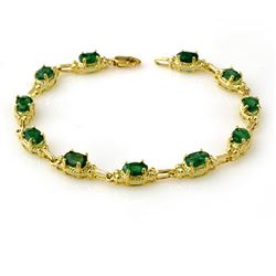 6.10 CTW Emerald Bracelet 10K Yellow Gold - REF-68X2T - 13799
