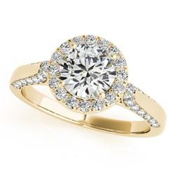 1.5 CTW Certified VS/SI Diamond Solitaire Halo Ring 18K Yellow Gold - REF-387M5H - 26385