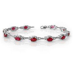 8.50 CTW Ruby Bracelet 14K White Gold - REF-72F8N - 14235
