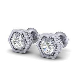 1.07 CTW VS/SI Diamond Solitaire Art Deco Stud Earrings 18K White Gold - REF-190W9F - 36899