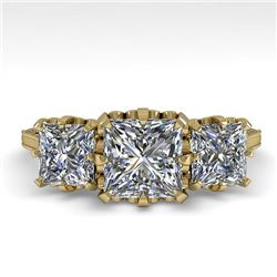 2 CTW Past Present Future Certified VS/SI Princess Diamond Ring 18K Yellow Gold - REF-414N2Y - 35785