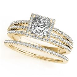 1.3 CTW Certified VS/SI Princess Diamond 2Pc Set Solitaire Halo 14K Yellow Gold - REF-242Y9K - 31387