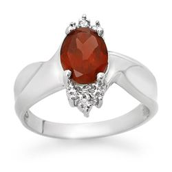 1.61 CTW Garnet & Diamond Ring 18K White Gold - REF-35T3M - 12521