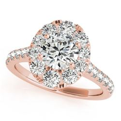 2 CTW Certified VS/SI Diamond Solitaire Halo Ring 18K Rose Gold - REF-424N2Y - 26800