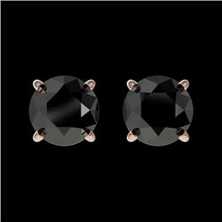 1 CTW Fancy Black VS Diamond Solitaire Stud Earrings 10K Rose Gold - REF-25A2X - 33053