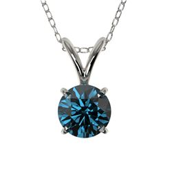 0.53 CTW Certified Intense Blue SI Diamond Solitaire Necklace 10K White Gold - REF-51H2A - 36728