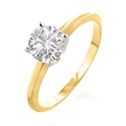 1.0 CTW Certified VS/SI Diamond Solitaire Ring 18K 2-Tone Gold - REF-353K8W - 12130
