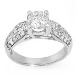 1.60 CTW Certified VS/SI Diamond Ring 14K White Gold - REF-292K5W - 11554