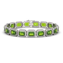 25.41 CTW Peridot & Diamond Halo Bracelet 10K White Gold - REF-365K8W - 41405