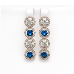 6.25 CTW Blue & White Diamond Designer Earrings 18K Rose Gold - REF-782X4T - 42684