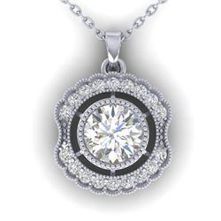 1.02 CTW Certified VS/SI Diamond Art Deco Necklace 14K White Gold - REF-177F3N - 30543