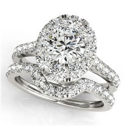 2.52 CTW Certified VS/SI Diamond 2Pc Wedding Set Solitaire Halo 14K White Gold - REF-476A4X - 31172
