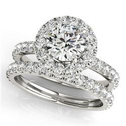 2.54 CTW Certified VS/SI Diamond 2Pc Wedding Set Solitaire Halo 14K White Gold - REF-548K5W - 30756