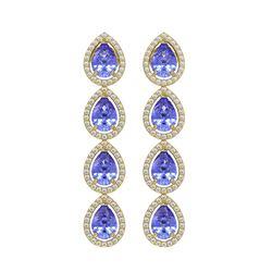 9.01 CTW Tanzanite & Diamond Halo Earrings 10K Yellow Gold - REF-193Y6K - 41149