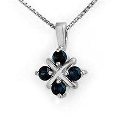 0.52 CTW Blue Sapphire Pendant 18K White Gold - REF-16F8N - 12650