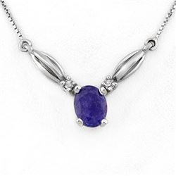1.30 CTW Tanzanite & Diamond Necklace 10K White Gold - REF-22A2X - 11360