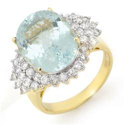 9.25 CTW Aquamarine & Diamond Ring 14K Yellow Gold - REF-183N6Y - 14514