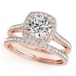 1.67 CTW Certified VS/SI Diamond 2Pc Wedding Set Solitaire Halo 14K Rose Gold - REF-387Y3K - 31215