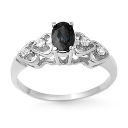 0.57 CTW Blue Sapphire & Diamond Ring 10K White Gold - REF-14A8X - 12643