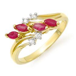 0.40 CTW Ruby & Diamond Ring 10K Yellow Gold - REF-22M5H - 13147