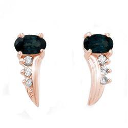 0.55 CTW Blue Sapphire & Diamond Earrings 18K Rose Gold - REF-19A3X - 12797
