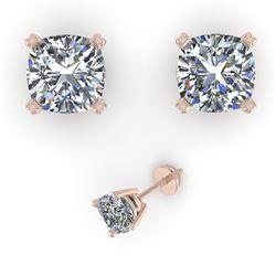 1.02 CTW Cushion Cut VS/SI Diamond Stud Designer Earrings 18K Rose Gold - REF-180N2Y - 32288