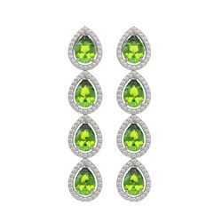 7.46 CTW Peridot & Diamond Halo Earrings 10K White Gold - REF-153F5N - 41165
