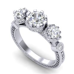 1.75 CTW VS/SI Diamond Solitaire Art Deco 3 Stone Ring 18K White Gold - REF-309M3H - 37070