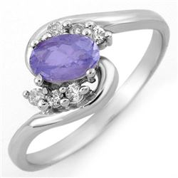 0.60 CTW Tanzanite & Diamond Ring 10K White Gold - REF-20W9F - 10172
