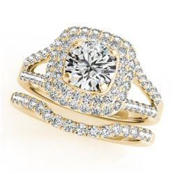1.54 CTW Certified VS/SI Diamond 2Pc Wedding Set Solitaire Halo 14K Yellow Gold - REF-176M2H - 30905