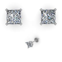 1.05 CTW Princess Cut VS/SI Diamond Stud Designer Earrings 18K Rose Gold - REF-180K2W - 32282