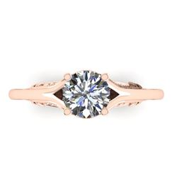 1 CTW Solitaire Certified VS/SI Diamond Ring 14K Rose Gold - REF-278K4W - 38542