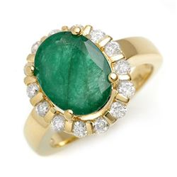 4.65 CTW Emerald & Diamond Ring 10K Yellow Gold - REF-68H2A - 11001