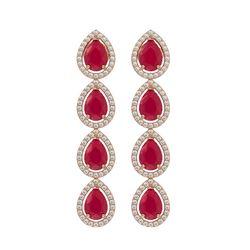 10.2 CTW Ruby & Diamond Halo Earrings 10K Rose Gold - REF-155Y5K - 41142