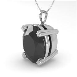 9.0 CTW Oval Black Diamond Designer Necklace 18K White Gold - REF-254Y5K - 32373
