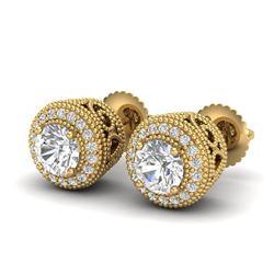 1.55 CTW VS/SI Diamond Solitaire Art Deco Stud Earrings 18K Yellow Gold - REF-259X3T - 36964