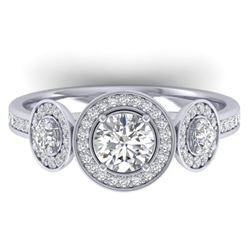 1.25 CTW Certified VS/SI Diamond Art Deco 3 Stone Micro Halo Ring 14K White Gold - REF-134W5F - 3036