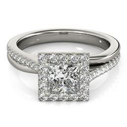 1.25 CTW Certified VS/SI Princess Diamond Solitaire Halo Ring 18K White Gold - REF-245W5F - 27198