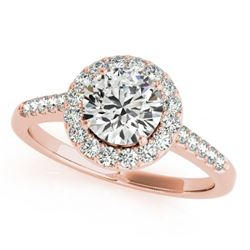 1.5 CTW Certified VS/SI Diamond Solitaire Halo Ring 18K Rose Gold - REF-400W9F - 26342