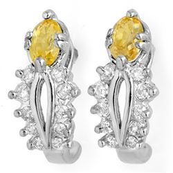 1.05 CTW Yellow Sapphire & Diamond Earrings 10K White Gold - REF-30A5X - 10470