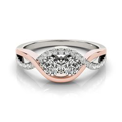 0.88 CTW Certified VS/SI Diamond 2 Stone Ring 18K White & Rose Gold - REF-140W8F - 28181