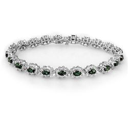 9.42 CTW Emerald & Diamond Bracelet 18K White Gold - REF-401F3N - 13992