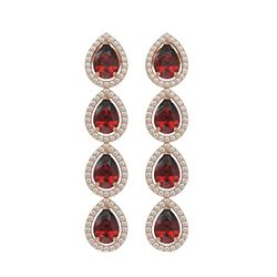 8.2 CTW Garnet & Diamond Halo Earrings 10K Rose Gold - REF-135F3N - 41184